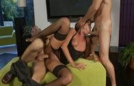 Two horny guys are stuffing hot slut